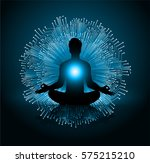man meditate dark blue abstract ... | Shutterstock .eps vector #575215210