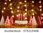 happy birthday cake with...   Shutterstock . vector #575215408