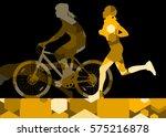 triathlon marathon active young ...   Shutterstock .eps vector #575216878