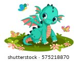 Cute Green Baby  Dragon Cartoo...