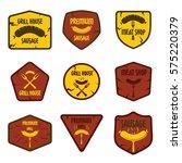 vintage labels sausage grill... | Shutterstock .eps vector #575220379