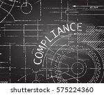 compliance word with gear... | Shutterstock .eps vector #575224360