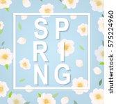 cherry flower spring banner    Shutterstock . vector #575224960