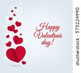 hearts postcard valentines day  | Shutterstock . vector #575224990