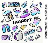 laundry business set. doodling... | Shutterstock . vector #575236558