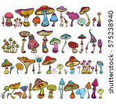 set of stylized mushrooms  | Shutterstock .eps vector #575238940