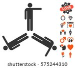 pointing men icon with bonus... | Shutterstock .eps vector #575244310