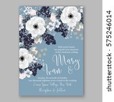 anemone wedding invitation card ... | Shutterstock .eps vector #575246014