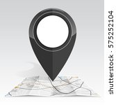 gps icon mock up black color on ... | Shutterstock .eps vector #575252104