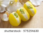close up of bengali sweets  | Shutterstock . vector #575254630