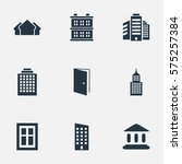 set of 9 simple construction... | Shutterstock .eps vector #575257384