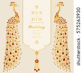 indian wedding invitation card... | Shutterstock .eps vector #575263930