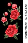 beautiful flowers embroidery.... | Shutterstock .eps vector #575266120