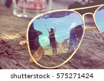 reflection of woman in... | Shutterstock . vector #575271424