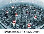 map pin above cityscape and... | Shutterstock . vector #575278984