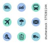 set of 9 simple conveyance... | Shutterstock . vector #575281144