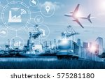 shipping business industry with ... | Shutterstock . vector #575281180
