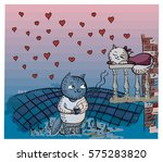 card valentines day. cat... | Shutterstock .eps vector #575283820