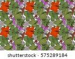 various hibiscus hawaiian...   Shutterstock . vector #575289184