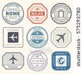 travel stamps or adventure... | Shutterstock .eps vector #575293780