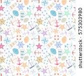 seamless pattern  sea symbols.... | Shutterstock .eps vector #575303980