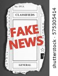 the words fake news in red text ...   Shutterstock . vector #575305414