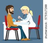 doctor measures the pressure of ...   Shutterstock .eps vector #575317288