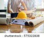 blueprint on desk with... | Shutterstock . vector #575322838