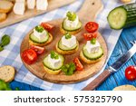 vegetarian toast with mini... | Shutterstock . vector #575325790