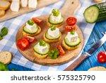 vegetarian toast with mini...   Shutterstock . vector #575325790