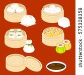 dim sum cartoon set   Shutterstock .eps vector #575328358