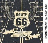 free soul route 66. vector... | Shutterstock .eps vector #575334130