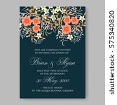 wedding invitation with wild... | Shutterstock .eps vector #575340820