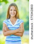 beautiful smiling teenage girl... | Shutterstock . vector #575342803