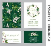 save the date card set.... | Shutterstock .eps vector #575354026