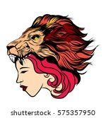 girl with tattoos and a lion's... | Shutterstock .eps vector #575357950