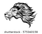 hand drawn lion head tattoo