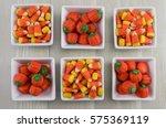 Six Square Bowls Of Candy Corns ...