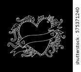 heart and arrow hand drawing... | Shutterstock .eps vector #575371240
