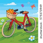vector illustration of a red... | Shutterstock .eps vector #575373949