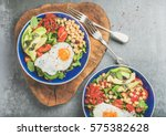 healthy breakfast bowls with... | Shutterstock . vector #575382628