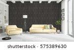 modern bright interior . 3d... | Shutterstock . vector #575389630