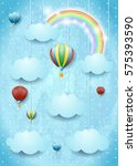 surreal cloudscape with hot air ... | Shutterstock .eps vector #575393590