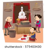 hong kong people go to chinese... | Shutterstock .eps vector #575403430