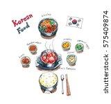 korean food set doodle  kimchi... | Shutterstock . vector #575409874