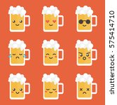 cute flat design glass of beer... | Shutterstock .eps vector #575414710