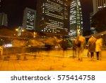 blurred light motion people... | Shutterstock . vector #575414758