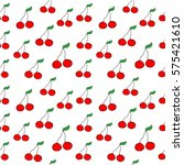 fruit doodle. cherry seamless... | Shutterstock .eps vector #575421610