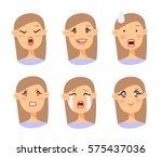 set of emotional character.... | Shutterstock .eps vector #575437036