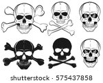 set of skull with bones  black... | Shutterstock .eps vector #575437858